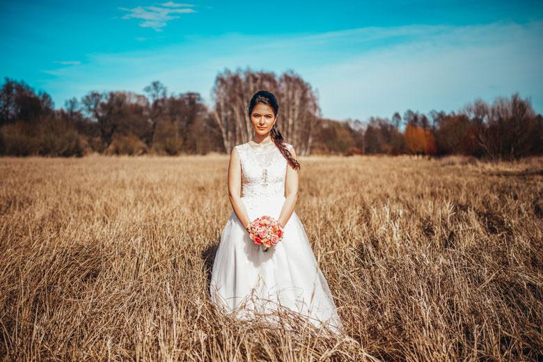 Hochzeitsfotos in der Natur Frühling